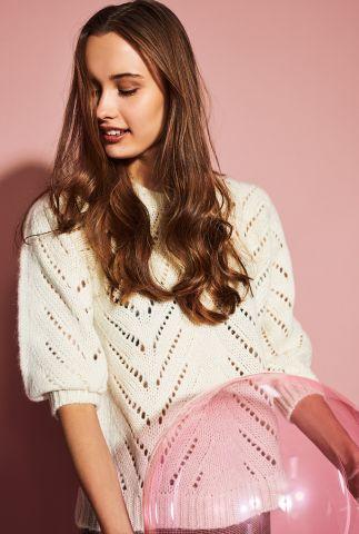 creme kleurige trui met ajour details nubritney pullover 700060