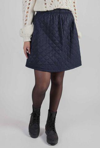 donker blauwe gewatteerde mini rok nubrayden skirt 7520110
