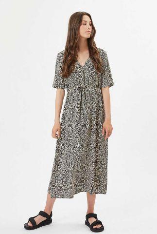 donkerblauwe lange jurk met all-over print nutilia 7460