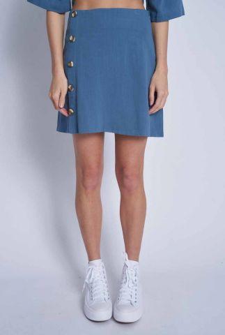korte blauwe rok met knoopsluiting laurel skirt nwsr144c