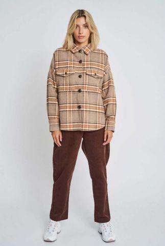 beige wolmix jack met ruit dessin dominica jacket nywjk246