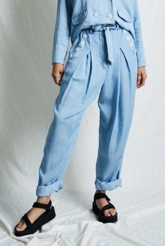 licht blauwe paperbag broek van lyocell nadia pants nywtr190