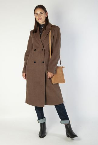 double-breasted wolmix jas met revers odelia long coat