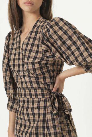 geruite overslag wikkel jurk osla wrap dress