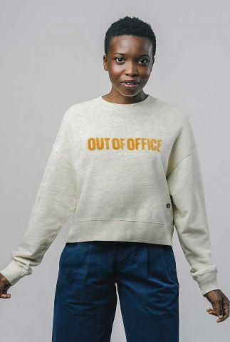 gemêleerde sweater met badstof letters out of office sweatshirt 757