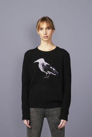 zwarte trui met ingebreid dessin en vogel print raven 42191