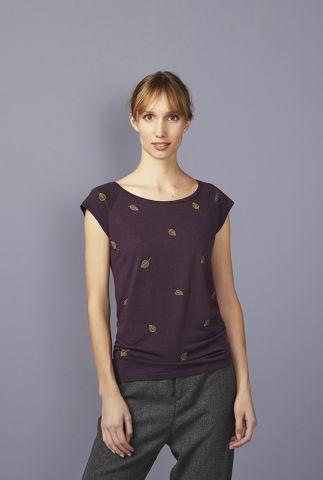 aubergine kleurig t-shirt met bladeren falling leaves 42141