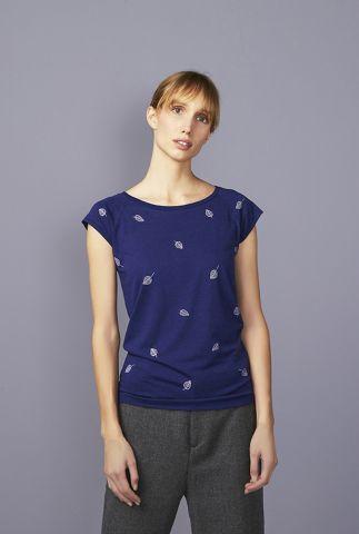 donkerblauw t-shirt met bladeren en ronde hals falling leaves 42140