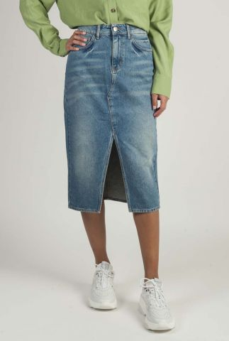 midi denim rok met split pacific denim skirt