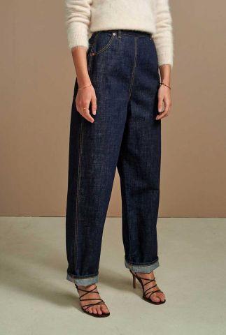 donkerblauwe jeans met wijde pijpen paint d0343