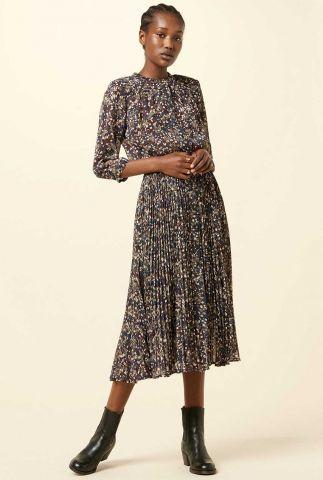 crêpe jurk met all-over print en plissé plooien painterly
