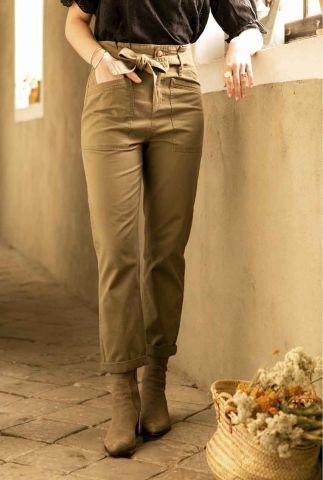 high waist khaki broek met ceintuur edmee