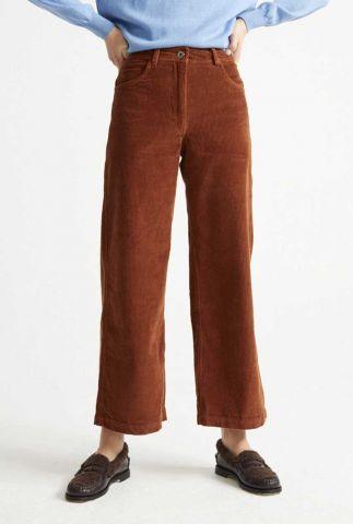 roest kleurige corduroy broek met wijde pijpen wpt00082