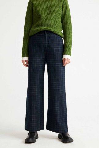 donkerblauwe broek met wijde pijpen checks maia pants wpt00083