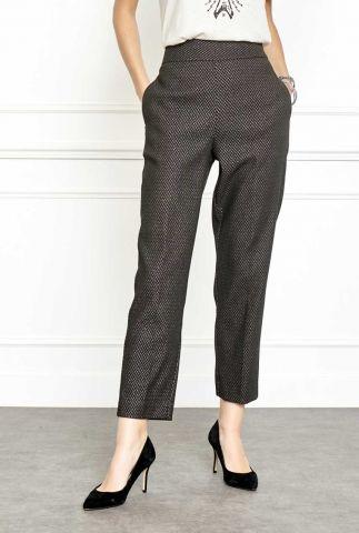 donker grijze high waisted broek met jacquard lurex detail paprika