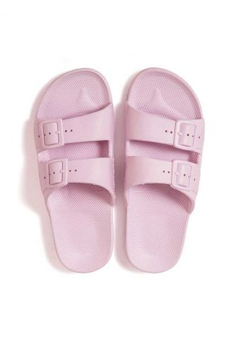 roze kleurige slippers van biologisch materiaal basic parma