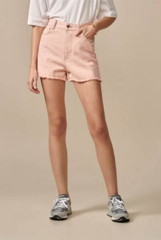 high waist lichtroze denim short met rafels party11 r0743