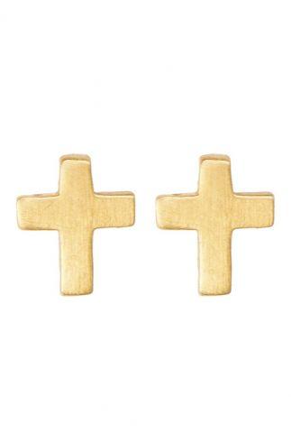 gouden kruis oorbellen  pd cross