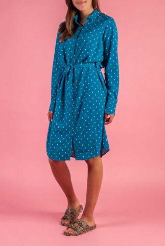 petrol kleurige jurk met all-over ruit print peck argyle dress