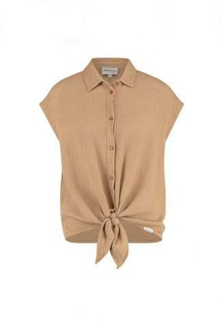 bruine blouse met wafel structuur en knoop detail s21t597ltd