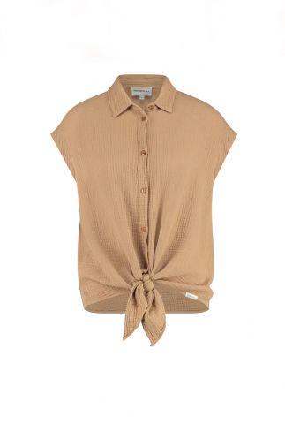 bruine mouwloze blouse met wafel structuur s21t597ltd
