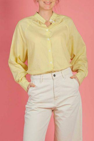 licht gele blouse met strepen dessin petra ls shirt