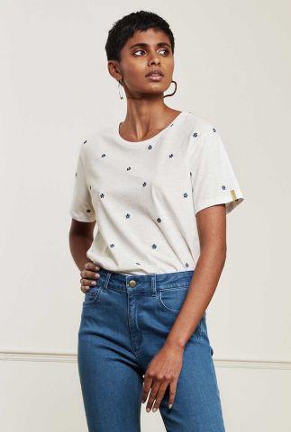 wit t-shirt met geborduurd bloemen dessin phil pansy t-shirt