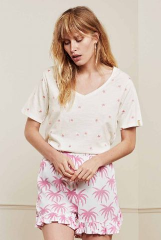 t-shirt met geborduurde roze sterren phil v-neck t-shirt