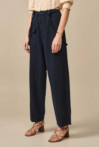 donker blauwe broek van linnen mix met bretels pils11 r0780