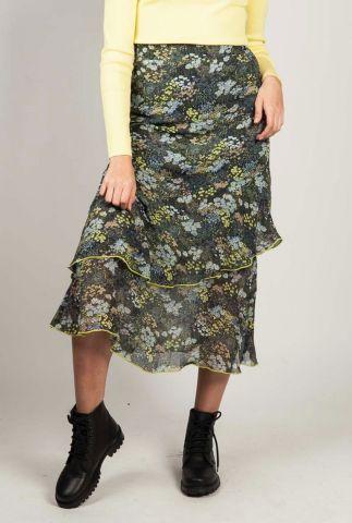 gelaagde rok van semi-transparante stof met bloemenprint pino