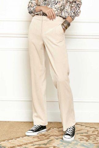beige velours broek met rib dessin en flared broekspijpen pinta