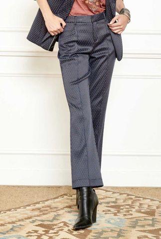 donker blauwe high waist broek met flared pijp en ruit dessin poblio