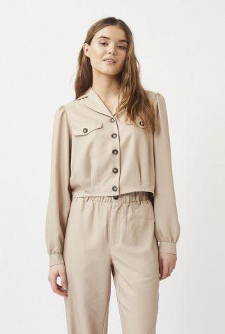korte beige blouse met knoopsluiting poliana 7466