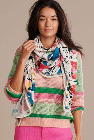 ecru sjaal met handgeschilderde bloemen delicious mess sp6425