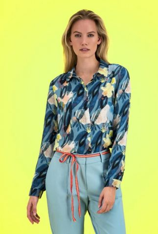 blouse met bloemenprint flower play indigo sp6202