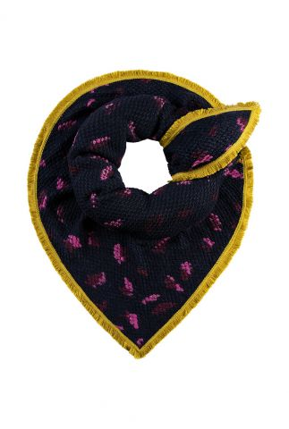 donkerblauwe sjaal met luipaard print furry leopard sp6295