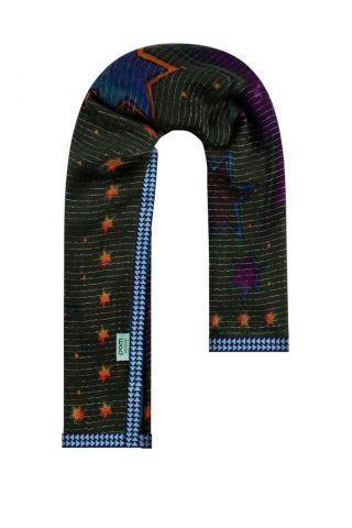 donker groene sjaal met sterren print en lurex details sp6289