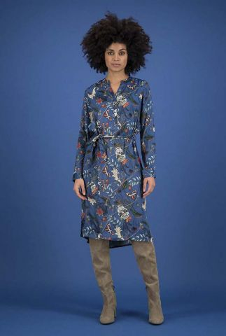 blauwe jurk met sierlijke all-over print funfair swirl sp6345
