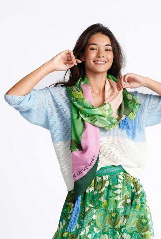 cupro sjaal met zomerse print lemons patchwork green sp6442