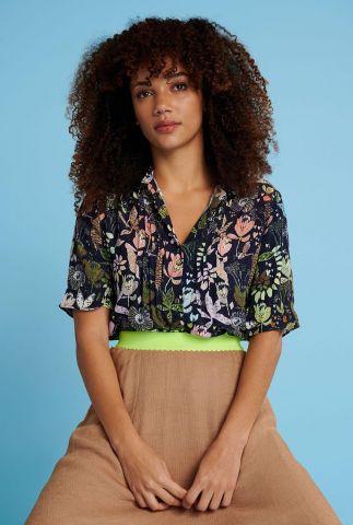 zwarte blouse met jungle print jungle beats rainbow sp6484