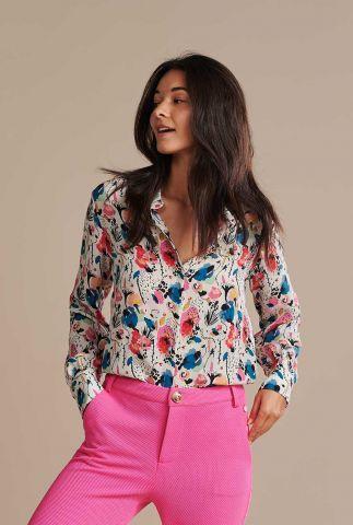 ecru cupro blouse met bloemen print delicious mess sp6491