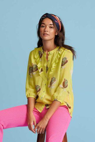fluoriserende gele blouse met ruches artichoke lemon sp6493