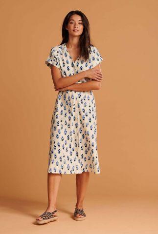 witte midi jurk met bessen dessin blueberries and cream sp6502