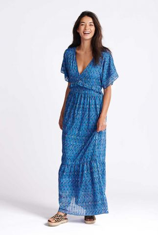 blauwe maxi jurk met v-hals en all-over print sprinkles blue sp6505