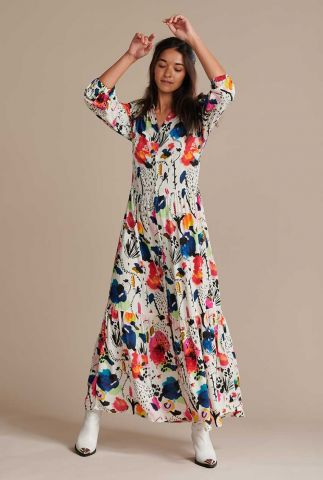 ecru maxi jurk bloemen print delicious mess ecru sp6506