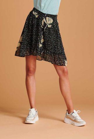 zwarte mini rok met all-over print artichoke kissed dark sp6513