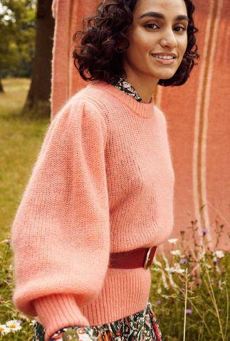 roze trui met 3/4 pofmouwen marie dusty pink sp6598