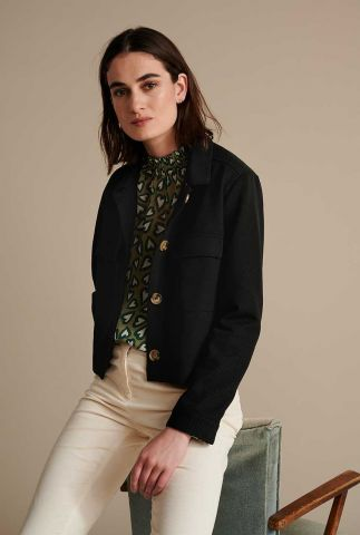 zwarte reliëf blazer met klassieke kraag flower love black sp6620