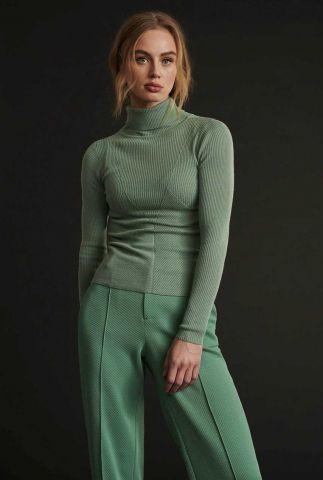 groen col top met rib dessin en ingebreid patroon turtleneck sp6661