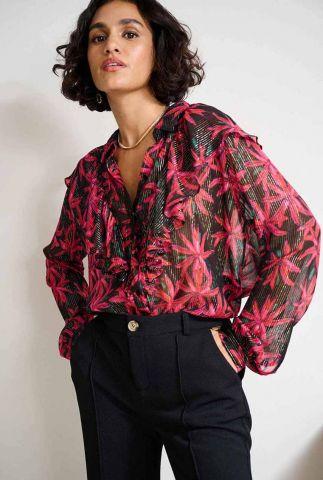 zwarte blouse met bloemenprint en lurex streep dessin daisy sp6754